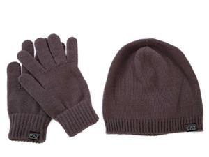 Emporio Armani EA7 women's beanie hat with gloves brown