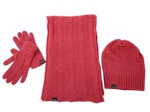 Emporio Armani EA7 women's wool beanie hat with scarf gloves fucsia