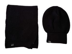 Emporio Armani EA7 women's beanie hat with scarf black