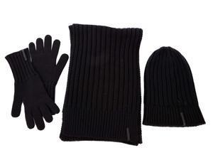 Dior men's wool beanie hat with scarf gloves blu