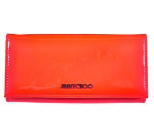 Jimmy Choo women's wallet leather coin case holder purse card bifold neon orangene