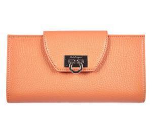 Salvatore Ferragamo women's wallet leather coin case holder purse card bifold coral pink
