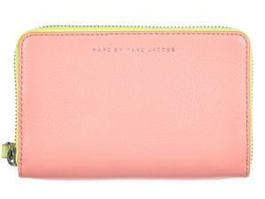 Marc by Marc Jacobs women's wallet leather coin case holder purse card bifold fluo coral pink