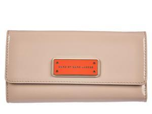 Marc by Marc Jacobs women's wallet leather coin case holder purse card bifold light taupe beige