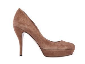Gucci women's suede platform pumps court shoes heel brown