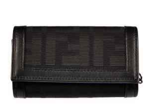 Fendi women's genuine leather keychain keyring holder gift zucca    black