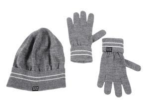 Emporio Armani EA7 women's beanie hat with gloves grey