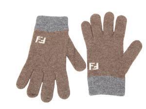 Fendi men's wool gloves  brown