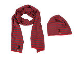 Iceberg men's wool beanie hat with scarf red
