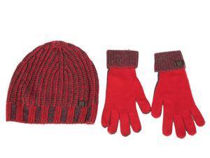 Iceberg men's beanie hat with gloves red