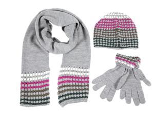Calvin Klein women's beanie hat with scarf gloves grey
