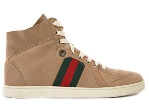 Gucci women's shoes high top leather trainers sneakers beige