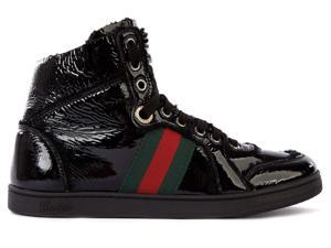 Gucci women's shoes high top leather trainers sneakers merinos black