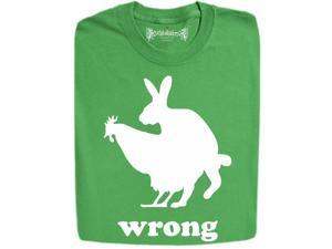 "Stabilitees ""Wrong"" Design Pervert Rabbit Takes A Chicken Funny T Shirts"