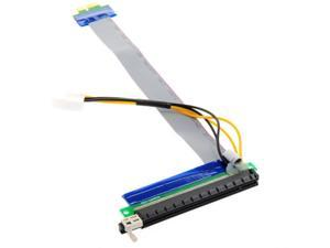 Tekit PCI-E PCI Express 1X to 16X Adapter Converter Riser Card Extender Flexible Extension Cable w/ Molex 4 Pin Power Connector (20cm)