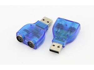 2PCS X USB male to 2 Dual PS2 converter Connecter Adapter, USB to PS/2 converter adapter cable