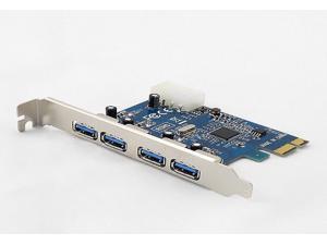 Tekit USB 3.0 4 External Ports PCI-e Controller Card with Molex Power PCI-Express Card 3.0 adapter