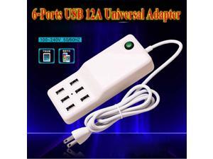 Universal 12A 6-Port USB Charger + Outlet US Plug Socket Strip (4.92FT/110~240V),60W 6 Port USB Desktop Wall Charger Power Adapter For ipad ,iphone
