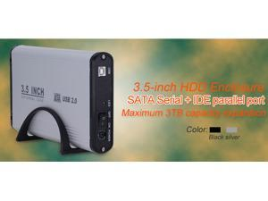 "TeKit 3.5 inch hard disk drive enclosure 3.5"" HDD case for PC hard drive box IDE and sata,NO DISK 3.5"" USB 2.0 hdd enclosure,external hdd enclosure case 3.5-silver"