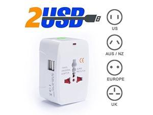 (with USB port x 2) - All in One Universal Worldwide Travel Wall Charger (1A) Surge Protector AC Power Charging Port AU UK US EU PlugAdapter Adaptor