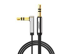 3.5mm Auxiliary Stereo Audio Jack to Jack Cable 90 Degree Right Angle for Apple iPhone, iPod, iPad, Samsung,Smartphones, Tablets and Speakers, 24K Gold Plated Male to Male,1m, Black