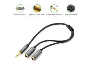 3.5mm Stereo jack Auxiliary Audio Y Splitter Extension Cable for Speaker and Headphones with Aluminum Case Black  0.66ft/0.2m