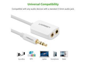 3.5mm Audio Stereo Y Splitter Cable 3.5mm Male to 2 Port 3.5mm Female for Earphone and Headset Splitter Adapter, White 10738