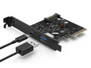 QICENT PU31-1P1C-BK 2 Ports USB 3.1 GEN II (10Gbps) PCI Express Card 1 USB Type C and 1 USB Type A Port (USB 3.1 A + C)