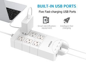 QICENT SC-6A5U-US-WH Home & Office Surge Protector W/ USB AC Multi-Outlet Travel Power Strip & 2500 Joules 4.9ft. Extended Power Cord