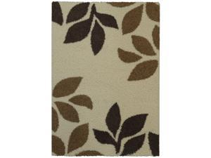 Maxy Home Shag Garden Leaves Ivory & Brown 5' x 7' Contemporary Area Rug