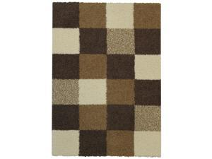 "Maxy Home Shag Checkerboard Squares Ivory & Brown 6'7"" x 9'3"" Contemporary Area Rug"