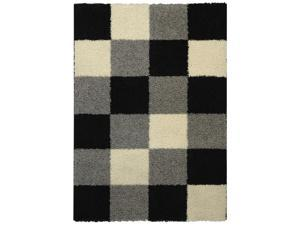 "Maxy Home Shag Checkerboard Squares Black Grey Ivory 6'7"" x 9'3"" Contemporary Area Rug"