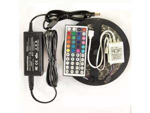 5M 16.4ft 12v SMD RGB 5050 IP65 Waterproof 300 LED Flexible Tape Strip Light + 44 Key Remote Controller + 5A Power Adapter Bundle Kit