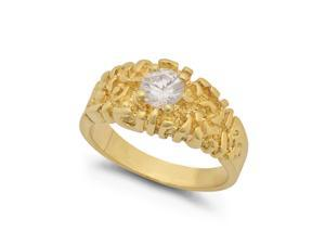 Men #8217;s Chunky 14k Yellow Gold Plated Nugget Ring with Cubic Zirconia Solitaire - Size 12