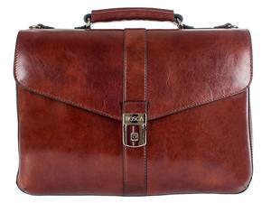 Bosca Old Leather Flapover Brief - Dark Brown