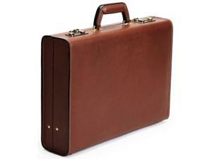 "Korchmar Schlesinger Collection 4"" Belting Leather Attache Case - Brown"