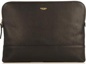 Knomo Mayfair Leather Davies Double Zip Crossbody - Black