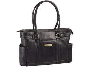 """Clark & Mayfield Hawthorne 17.3"""" Leather Laptop Handbag - Black"""