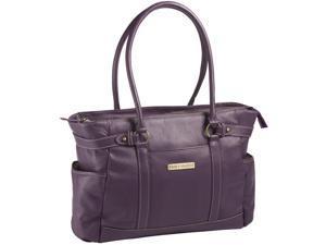 """Clark & Mayfield Hawthorne 17.3"""" Leather Laptop Handbag - Purple"""