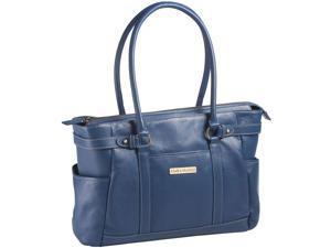 """Clark & Mayfield Hawthorne 17.3"""" Leather Laptop Handbag - Blue"""