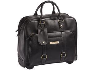 "Clark & Mayfield Hawthorne 17.3"" Leather Rolling Laptop Bag - Black"