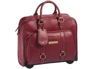"""Clark & Mayfield Hawthorne 17.3"""" Leather Rolling Laptop Bag - Red"""