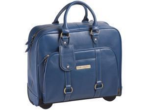 "Clark & Mayfield Hawthorne 17.3"" Leather Rolling Laptop Bag - Blue"