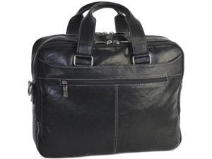 New York Crumpled Leather Double Gusset Laptop Brief - Black