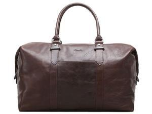 "A Duff Idea Full Grain Leather 20"" Single Gusset Top Zip Duffel - Brown"