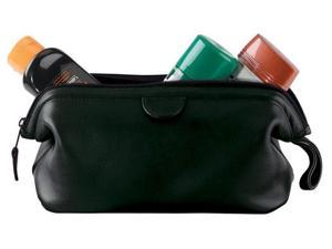 Leather Travel Toiletry Wash Bag - Black