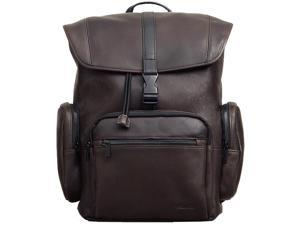 Glazed Colombian Leather Flapover Rucksack Backpack Brown