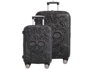 """Skulls 2 Piece Spinner Set (21.5"""" & 26"""") - Black"""
