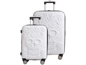 """Skulls 2 Piece Spinner Set (21.5"""" & 26"""") - White"""