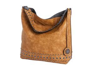 Reversible Stud Hobo - Saddle/Charcoal